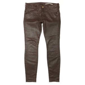 Zara Woman Coated Waxed Med Rise Slim Fit Jeans